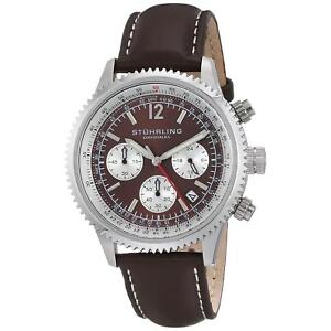 Stuhrling-Monaco-Men-039-s-42mm-Chronograph-Brown-Calfskin-krysterna-Watch-669-03