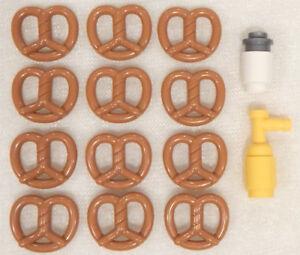 12-NEW-LEGO-PRETZELS-SALT-amp-MUSTARD-minifig-minifigure-pretzel-lot-food-city