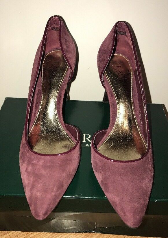Ralph Lauren Rube 8.5 PM DRS Burgundy D'Orsay CLARET D'Orsay Burgundy Pointed Toe Pumps Suede New fa6f9b
