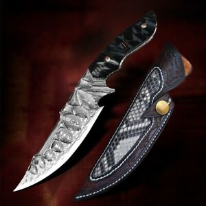Full Tang Fixed Blade Survival Knives Outdoor Damascus Steel Hunting Knife EDC
