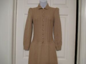 ST-JOHN-by-Marie-Gray-Camel-Nude-Sheath-Sweater-Dress-Size-2-Small-Vintage