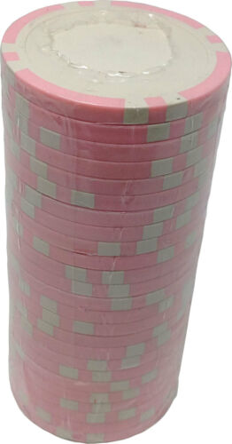 25 S6 Pink 11.5 g Clay Composite Custom Inlay Ready Poker Chips