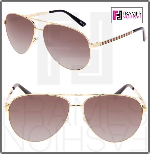 34f40728aa GUCCI Aviator Sunglasses 0237 Metal Gold Brown Polarized 61mm 2281 GG0237  Unisex