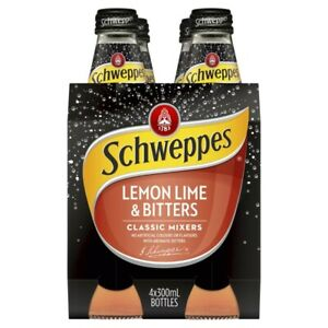 4-Multi Pack Schweppes Lemon Lime Bitters Classic Mixer Drinks Bottle 300mL