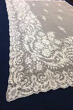 """Antique Ivory Victorian Tambour Lace Curtains / Floral French Country 44"""" x 66"""""""