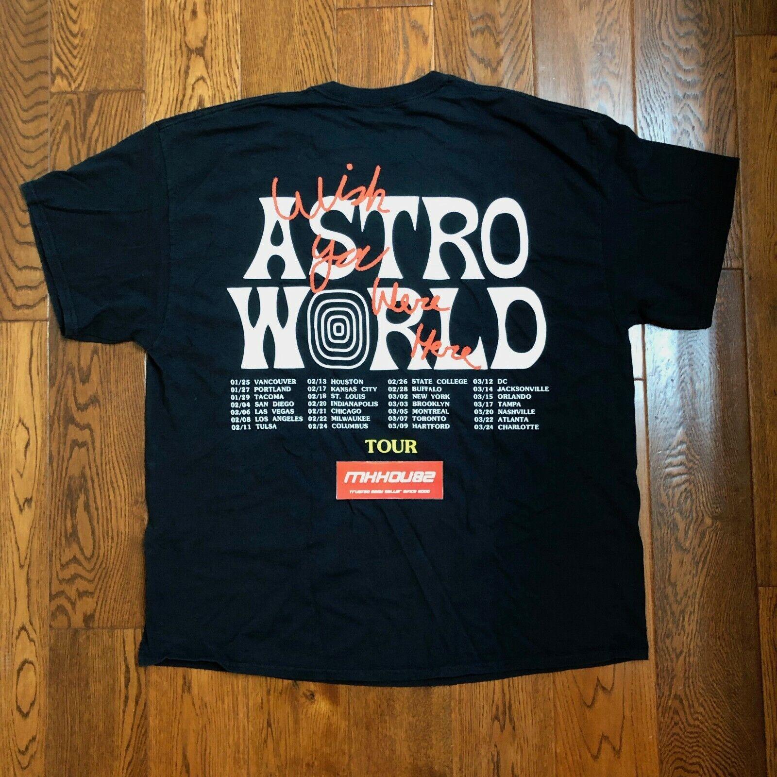 6ae9f313132f New Travis Scott Astroworld Wish You Were Here Tour Merch Tee T-Shirt 2019  Sz. Vintage Guess USA Small Striped Short Sleeve Shirt Men's Size XL