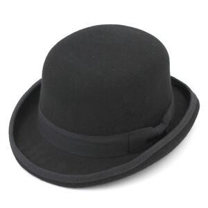 Men-Gentleman-100-Wool-Fedora-Cap-Crushable-Bowler-Dad-Hat-Billycock-Groom-Hats