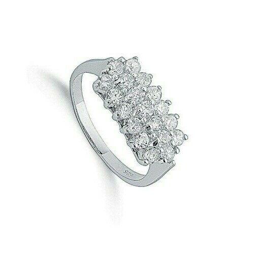Gemstone Clawset Cluster Ring Engagement Sterling Silver 925 Hallmark Rhodium