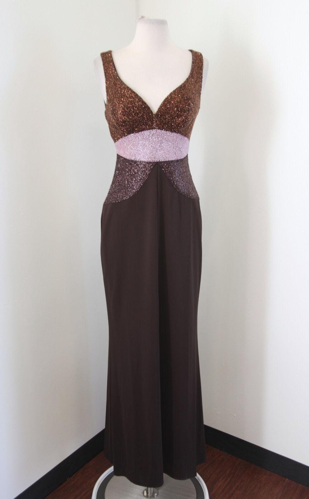 braun Sequin Beaded Evening Dress Formal Gown Größe 4 Bronze Rosa Prom Sweetheart