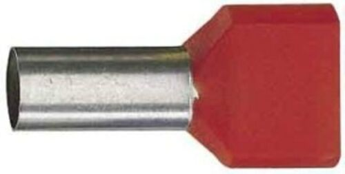 Twin- Aderendhülse 10 mm² Stiftlänge 14mm rot (VE 100Stk.)