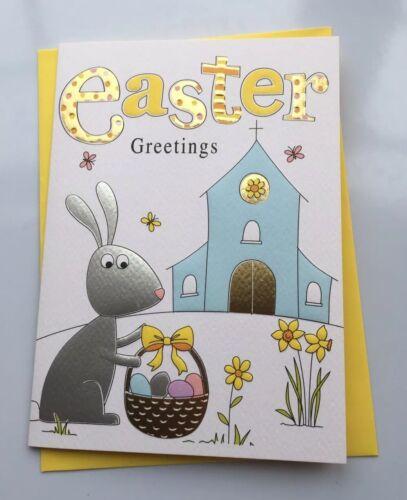 Lovely Easter Card Cute Bunny Easter Eggs Churchyard Theme Easter Greetings
