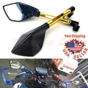 Gold Universal Motorcycle Rearview Side Mirrors M10 M8 Racing Bikes Honda Yamaha