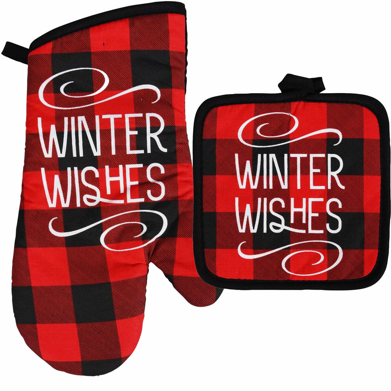 Winter Wishes Black Red Plaid Oven Mitt Pot Holder Kitchen Decor Home Collection Ebay