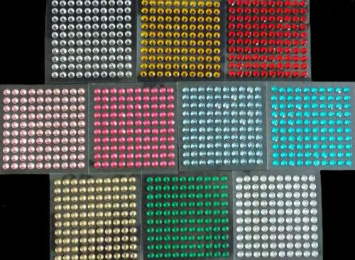 selbstklebende Schmucksteine// Glitzersteine rund 6 mm verschiedene Farben