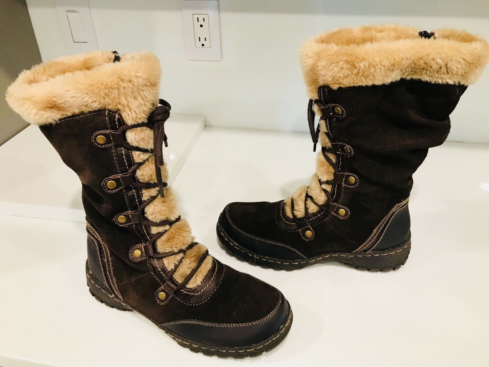 Winter botas Wohombres Talla 9.5 Bass-Willa zapatos Leather Synthetic Upper