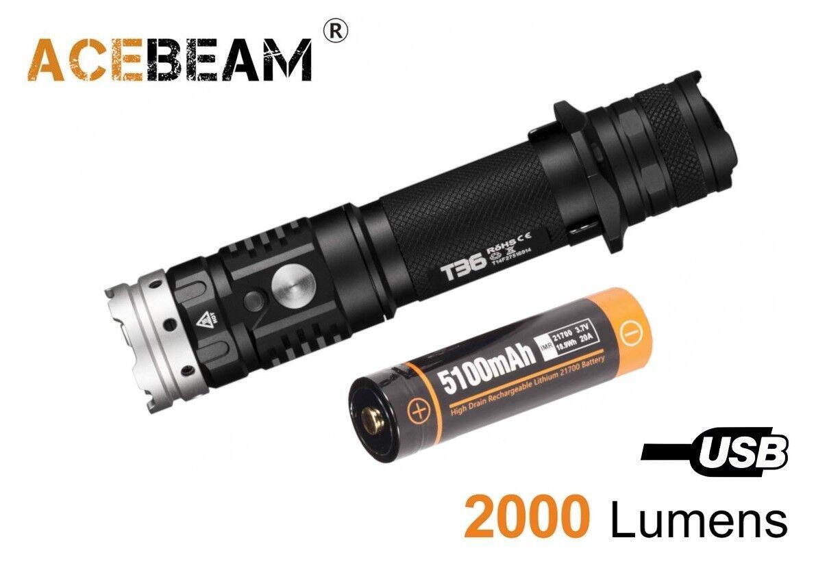 Nuevo acebeam T36 cree XHP35 Hi 2000 lúmenes 6500K LED Linterna táctica (21700)