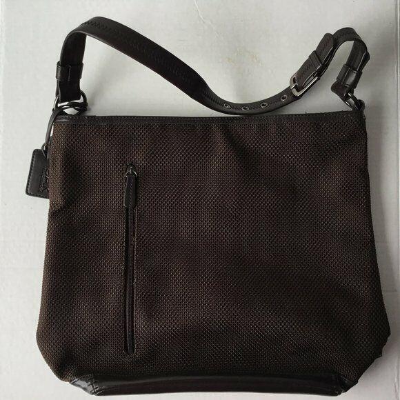 The Sak Brown Woven Medium Zip Closure Adjustable Strap Handbag Purse