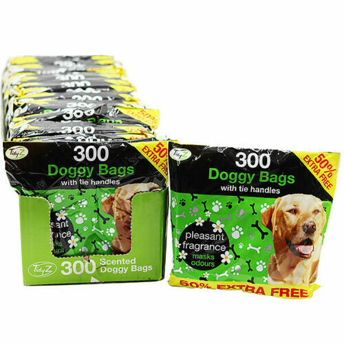 300 Disposable Doggy Bags Scented Dog Poo Waste With Tie Handles Pet Waste Bags