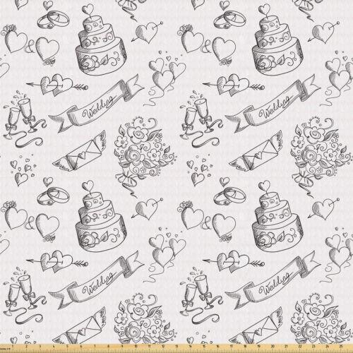 Hochzeit Meterware Stoff Blumenstrauß Kuchen