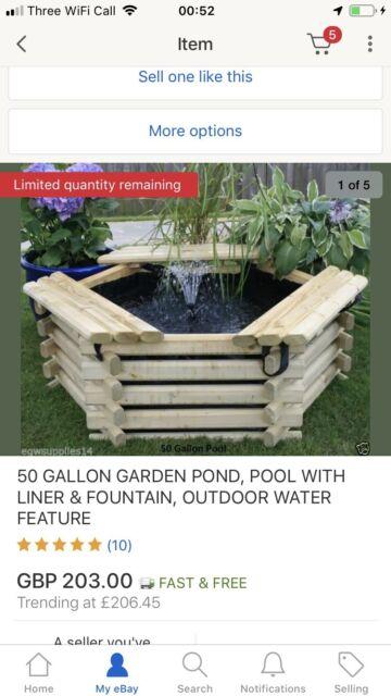 New Garden Pool 50 Gallon Linerpump Fish Pondtank Outdoor Water Feature