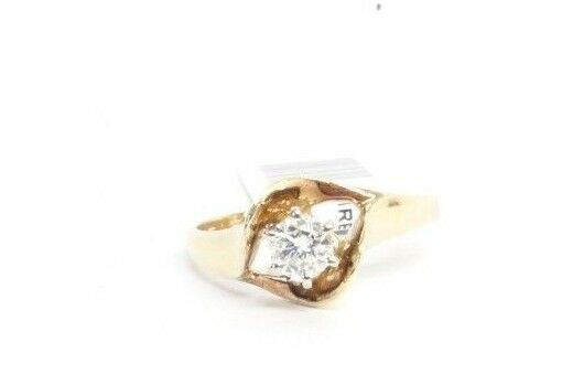 (RI3) Ladies 14K Yellow gold Diamond Ring - sz. 7.5 - 3.3 g - .40 TCW