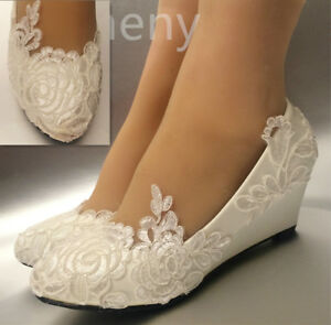 Details About Su Cheny White Light Ivory Lace Wedding Shoes Flat Heel Wedges Bridal Size 5 12