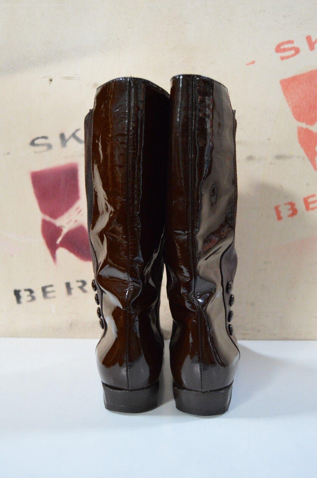 Femmes verni bottes Brunella cavaliers style 90er true vintage vintage vintage bottes laquer marron 3e4591