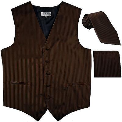 New Men/'s Formal Vest Tuxedo Waistcoat/_necktie set stripes wedding prom Brown