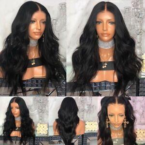 Wie-Echthaar-Neu-Damen-Lang-Ombre-Peruecken-Mode-Gewellt-Peruecke-Cosplay-Wig