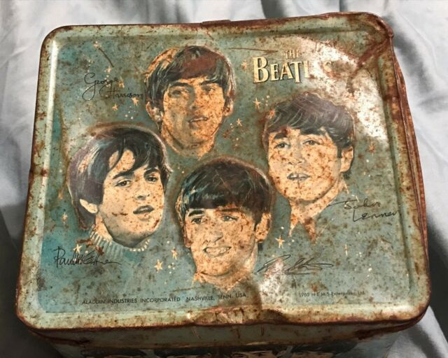 RARE VINTAGE 1965 THE BEATLES MUSIC GROUP ADVERTISING METAL LUNCHBOX BY ALADDIN