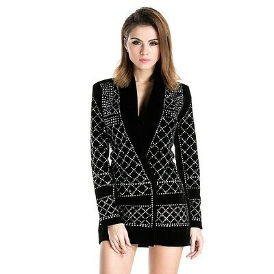 Studded Geometric Party Dress Black Long Sleeves Black Mini V Neck Plunge Short