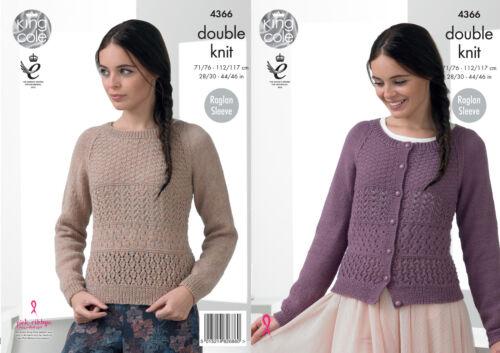 Raglan Sleeve Cardigan Jumper Sweater Ladies Knitting Pattern King Cole DK 4366