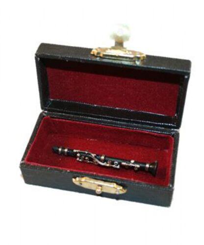 6cm mit Koffer Puppenstube Miniatur Klarinette schwarz 1:12 ca