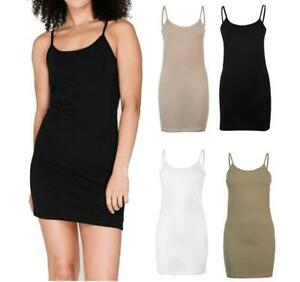 New-Miso-Womens-Long-Cotton-Cami-Top-Vest-Size-8-to-16-Summer-lightweight