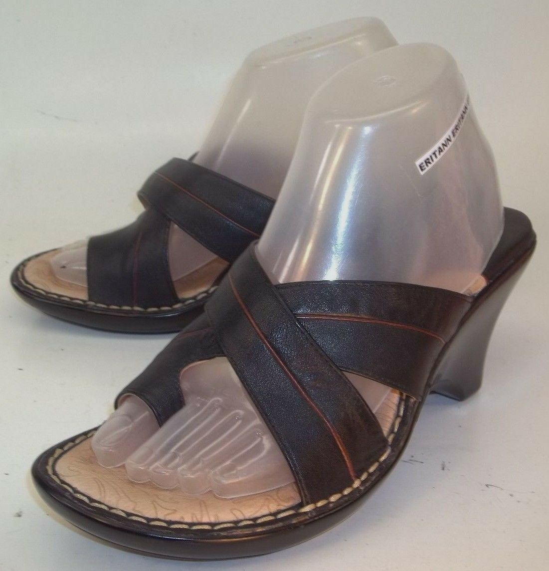 Sofft 1501601 Wos shoes Heels Sandals US 8.5 M Black Leather Comfort Wedge 1025