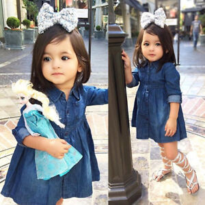 Details about USA Kids Baby Girls Denim Jeans One-piece Princess Dress Long  Sleeve Skirt res 2d717a3f61e7