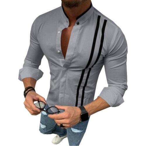 Men Casual Comfy Muscle Slim Fit Long Sleeve Tops Dress Shirt Fashion T-Shirt UK