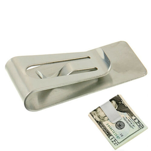 Slim Money Wallet Clip Card Stainless Steel Credit Business Card Holder Silver