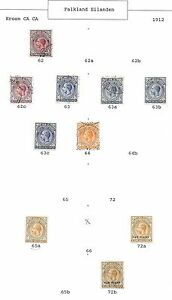 Falkland Islands stamps 1912 Collection of 10 stamps CAT VALUE $435