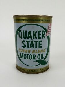Vintage-1981-Quaker-State-Metal-Motor-Oil-Can-1-Quart-Empty