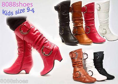 Girl's Kids Cute Dress Low Heel Zipper Boot Shoes Black Chestnut Fuchsia 9-4 NEW