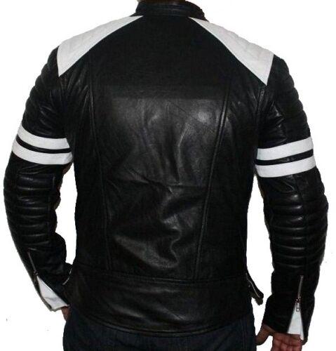 LEATHER NEXT Fight Club Tyler Durden Mayhem Black Leather Jacket NEW