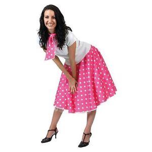ROCK N ROLL SKIRT SCARF FANCY DRESS 1950S 60S GREASE PINK LADIES POLKA DOT SKIRT