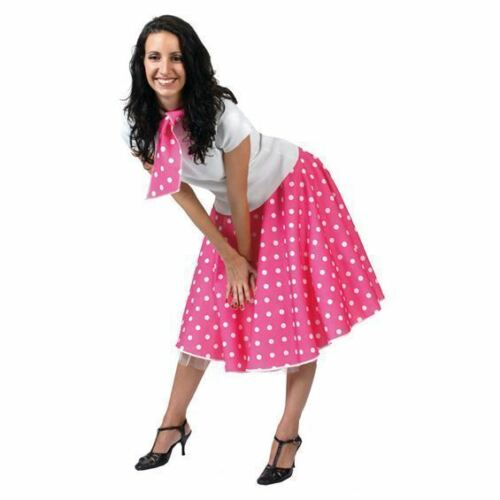 LADIES PINK POLKA DOT ROCK N ROLL SKIRT AND SCARF 50/'S 60/'S FANCY DRESS COSTUME