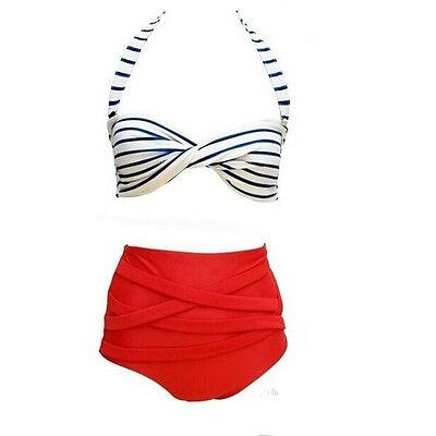 Sexy Retro Pinup Rockabilly Vintage High Waist Bikini Swimsuit Swimwear M-XL FT