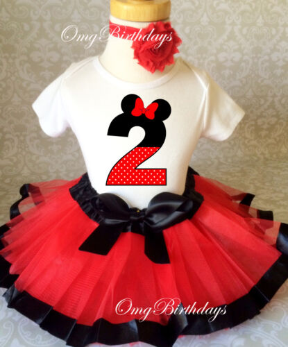 Minnie Mouse Red Black dots 2nd Second Birthday Ribbon Tutu Shirt Outfit Set