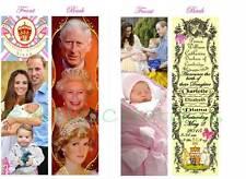 2-PRINCESS CHARLOTTE KATE Middleton BOOKMARK-Royal Baby Diana Elizabeth George