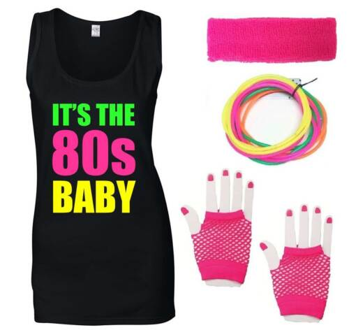 IT/'S THE 80s BABY Ladies Vest /& Accessories Fancy Dress Costume Outfit Neon 80/'s