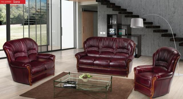 Modern Italian Leather Living Room Sofa Set 3 Pcs Burgundy Traditional ESF  Sara