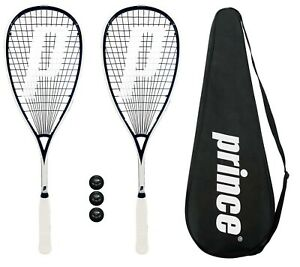 2-x-Prince-Pro-Sovereign-650-Squash-Rackets-3-Squash-Balls-Covers-RRP-330